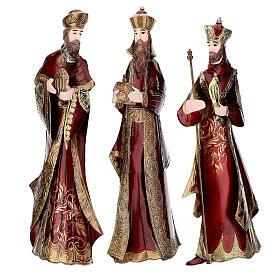 Natività 5 statue rosso oro metallo h 44 cm s6