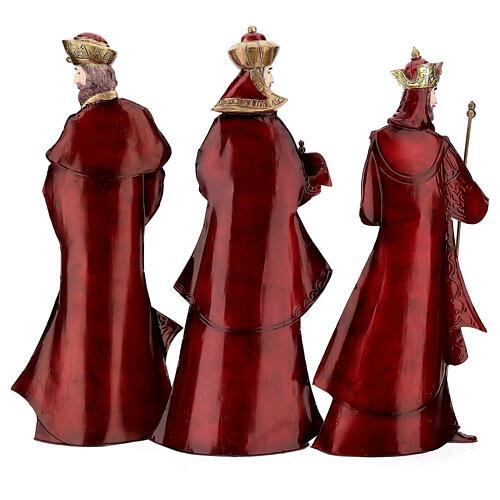 Natività 5 statue rosso oro metallo h 44 cm 9