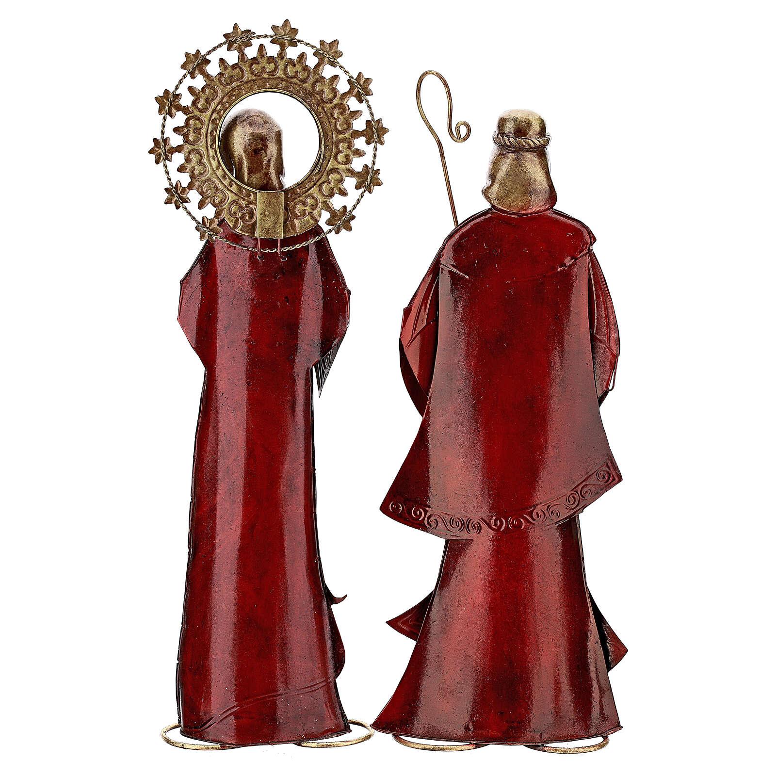 Nativity set 5 pcs in red gold metal, h 44 cm 4