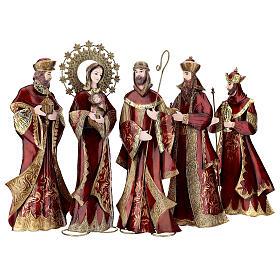 Nativity set 5 pcs in red gold metal, h 44 cm s1