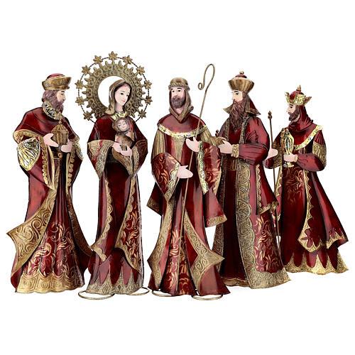 Nativity set 5 pcs in red gold metal, h 44 cm 1