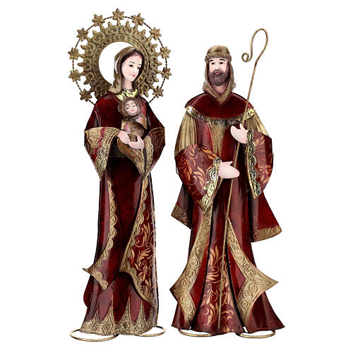 Nativity set 5 pcs in red gold metal, h 44 cm 3