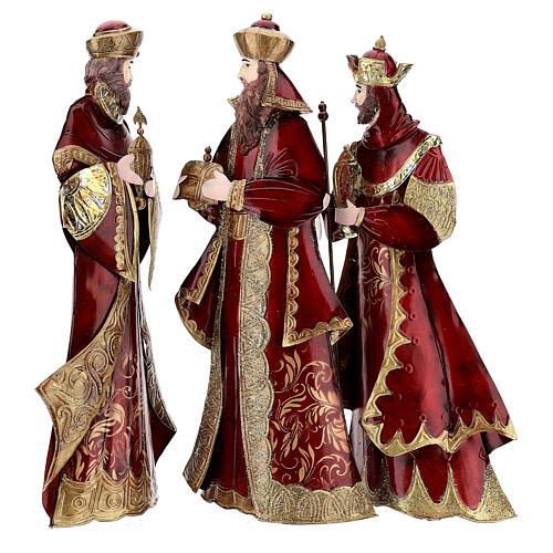 Nativity set 5 pcs in red gold metal, h 44 cm 7