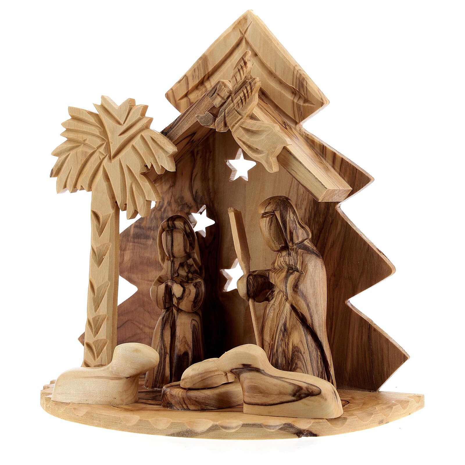 Cabaña Natividad 8 cm árbol estilizado madera olivo Belén 15x15x10 cm 4