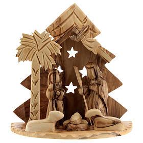 Cabaña Natividad 8 cm árbol estilizado madera olivo Belén 15x15x10 cm s1