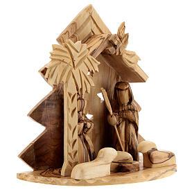Cabaña Natividad 8 cm árbol estilizado madera olivo Belén 15x15x10 cm s3