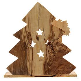 Cabaña Natividad 8 cm árbol estilizado madera olivo Belén 15x15x10 cm s4