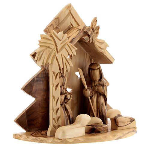 Cabaña Natividad 8 cm árbol estilizado madera olivo Belén 15x15x10 cm 3