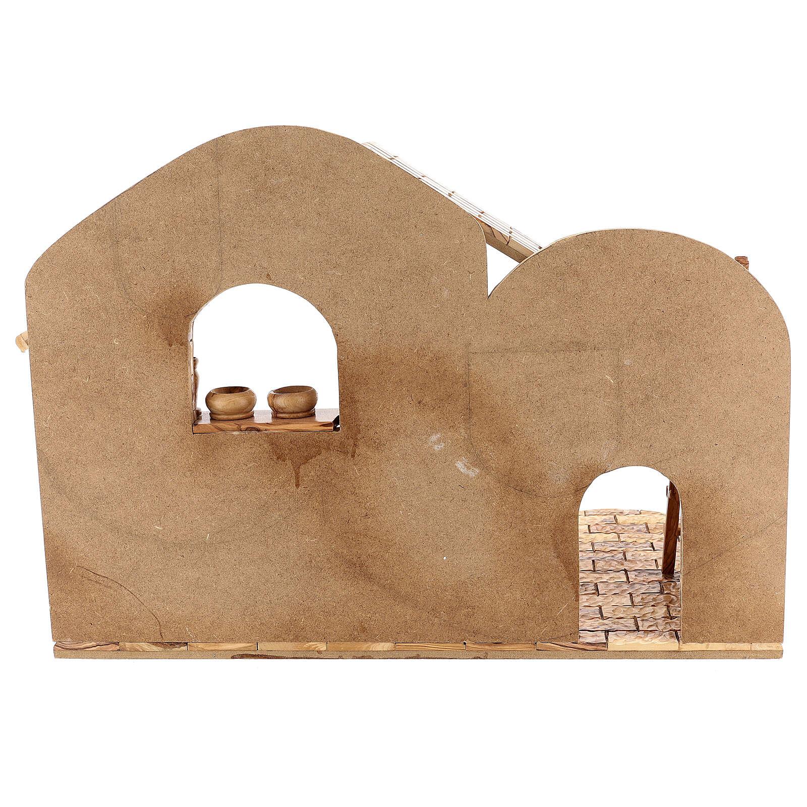 Krippenhütte aus Olivenholz Stil Palästina, 45x65x35 cm 4