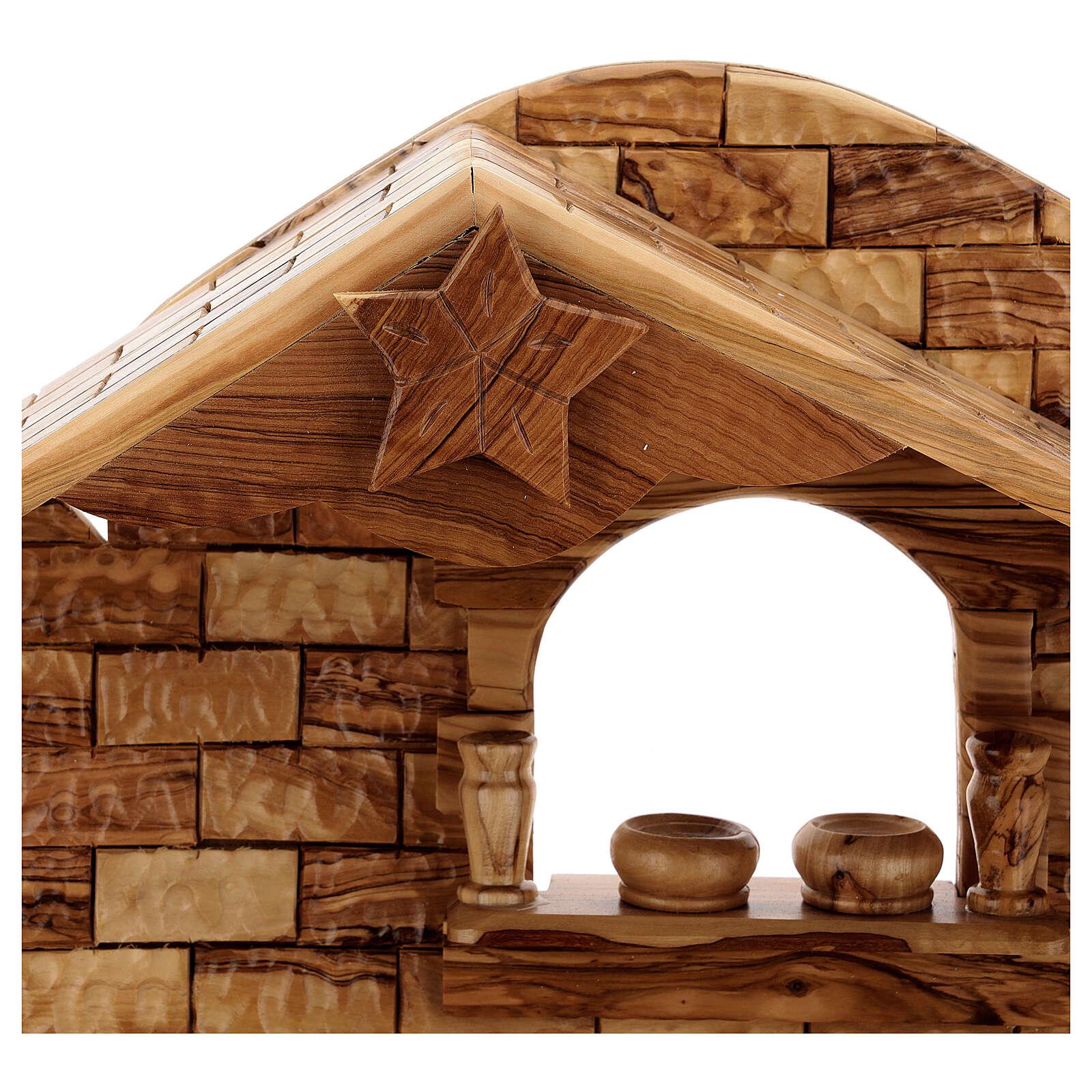Cabaña Natividad 14 estatuas 20 cm carillón madera olivo Palestina 45x65x35 cm 4