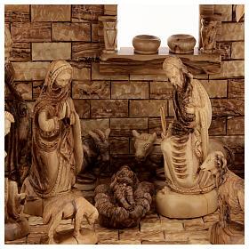 Cabaña Natividad 14 estatuas 20 cm carillón madera olivo Palestina 45x65x35 cm s2