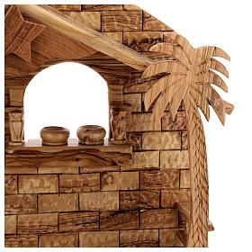Cabaña Natividad 14 estatuas 20 cm carillón madera olivo Palestina 45x65x35 cm s4