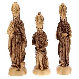 Cabaña Natividad 14 estatuas 20 cm carillón madera olivo Palestina 45x65x35 cm s5