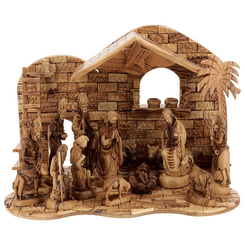 Cabaña Natividad 14 estatuas 20 cm carillón madera olivo Palestina 45x65x35 cm 1