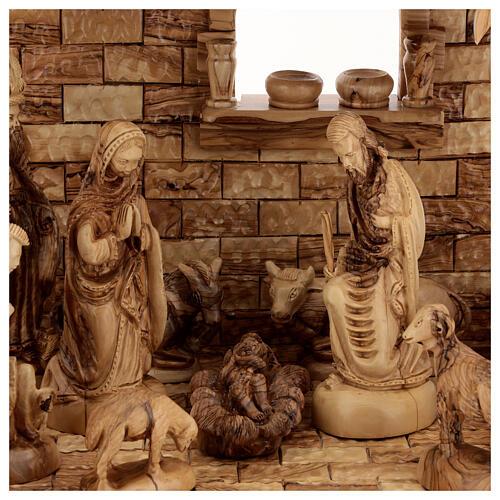 Cabaña Natividad 14 estatuas 20 cm carillón madera olivo Palestina 45x65x35 cm 2