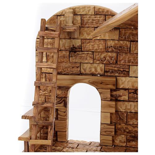 Cabaña Natividad 14 estatuas 20 cm carillón madera olivo Palestina 45x65x35 cm 13