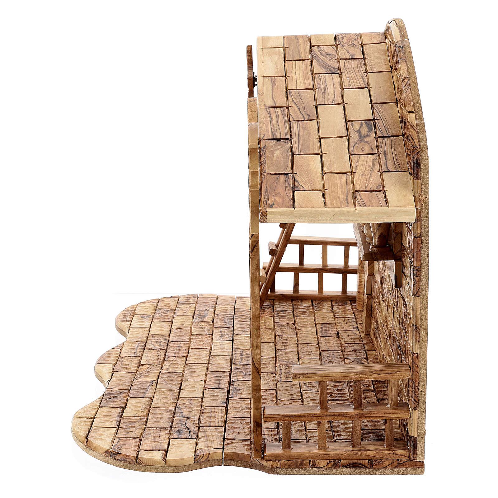Capanna Natività 14 statue 20 cm carillon legno ulivo Palestina 45x65x35 cm 4