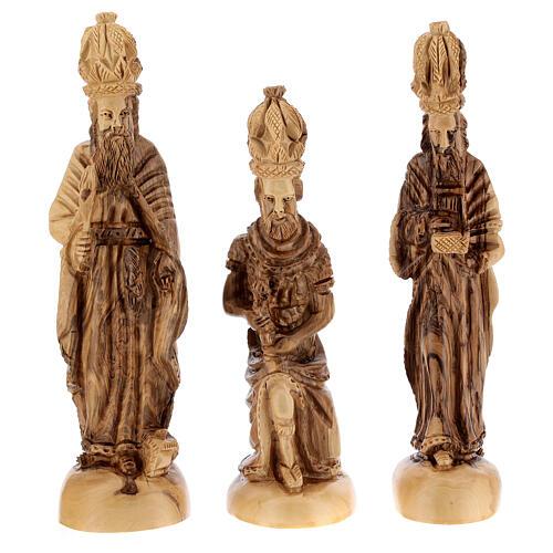Capanna Natività 14 statue 20 cm carillon legno ulivo Palestina 45x65x35 cm 5