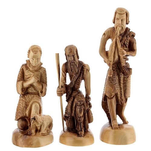 Capanna Natività 14 statue 20 cm carillon legno ulivo Palestina 45x65x35 cm 7