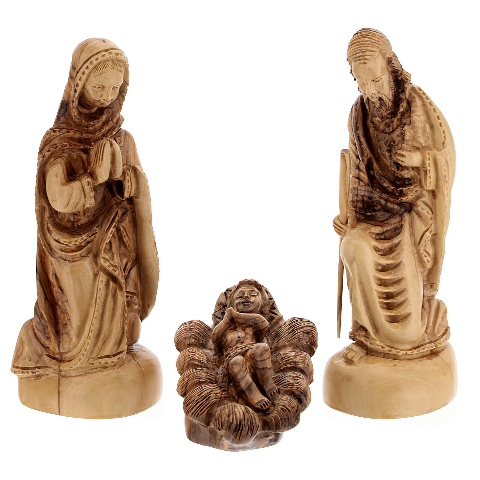 Cabana Natividade 14 figuras altura média 20 cm caixa de música madeira de oliveira Palestina 46x63x37 cm 4