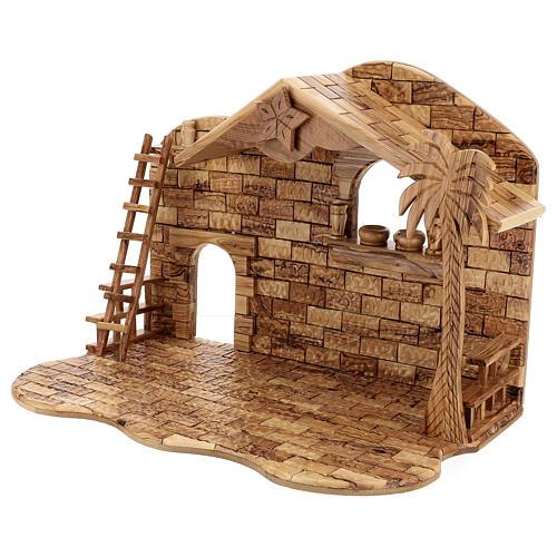 Cabana Natividade 14 figuras altura média 20 cm caixa de música madeira de oliveira Palestina 46x63x37 cm 8