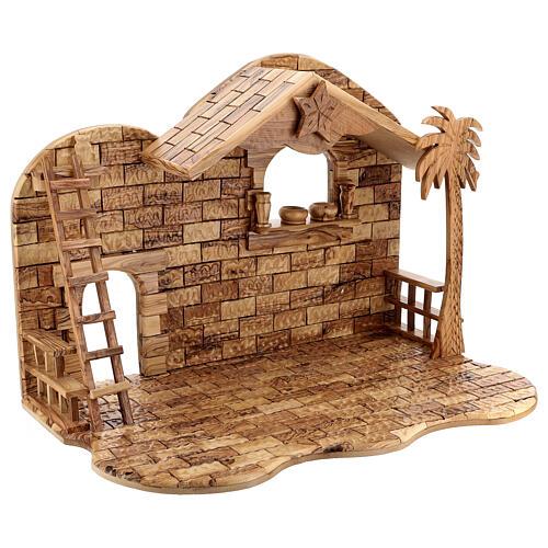 Cabana Natividade 14 figuras altura média 20 cm caixa de música madeira de oliveira Palestina 46x63x37 cm 10