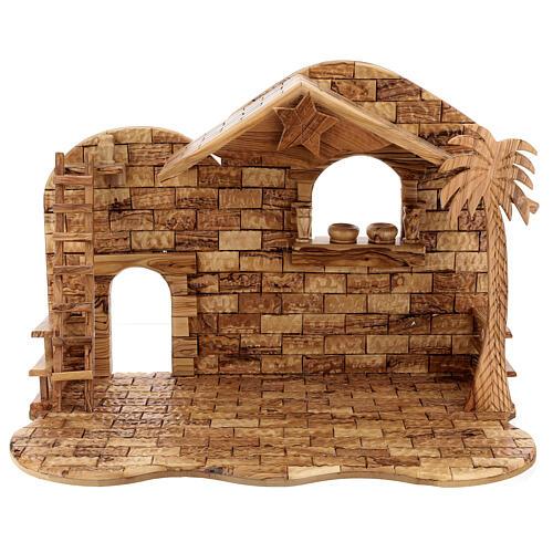 Cabana Natividade 14 figuras altura média 20 cm caixa de música madeira de oliveira Palestina 46x63x37 cm 14