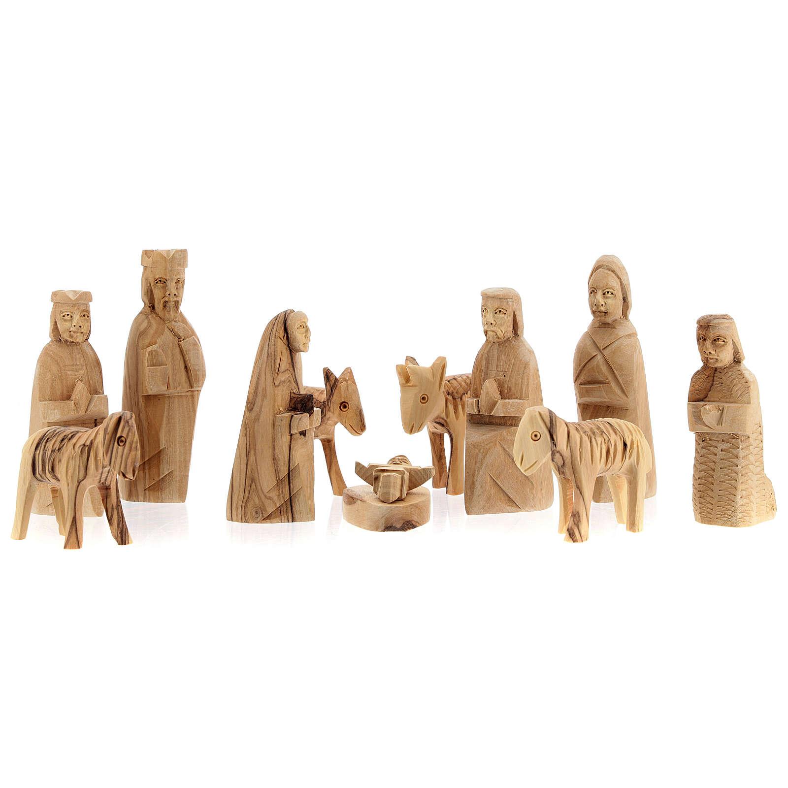 Capanna Natività tronco legno ulivo 11 statue 10 cm Betlemme 20x30x20 cm 4