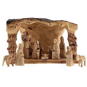 Capanna Natività tronco legno ulivo 11 statue 10 cm Betlemme 20x30x20 cm s1
