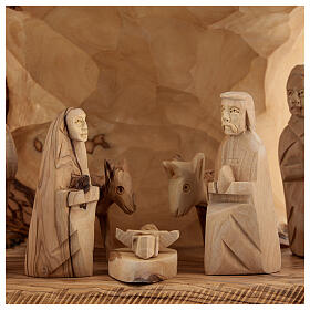 Capanna Natività tronco legno ulivo 11 statue 10 cm Betlemme 20x30x20 cm s2
