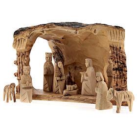 Capanna Natività tronco legno ulivo 11 statue 10 cm Betlemme 20x30x20 cm s3