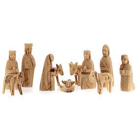 Capanna Natività tronco legno ulivo 11 statue 10 cm Betlemme 20x30x20 cm s4