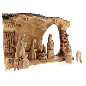 Capanna Natività tronco legno ulivo 11 statue 10 cm Betlemme 20x30x20 cm s5