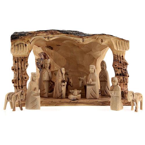 Capanna Natività tronco legno ulivo 11 statue 10 cm Betlemme 20x30x20 cm 1