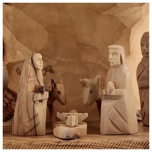 Capanna Natività tronco legno ulivo 11 statue 10 cm Betlemme 20x30x20 cm 2