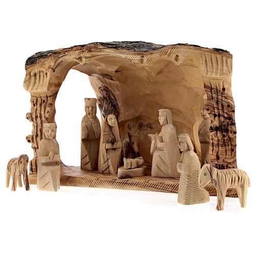 Capanna Natività tronco legno ulivo 11 statue 10 cm Betlemme 20x30x20 cm 3