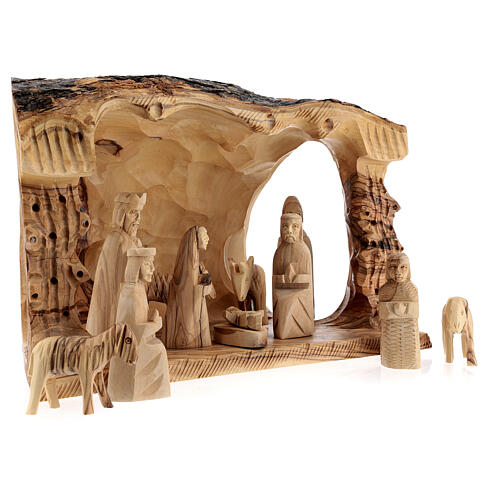Capanna Natività tronco legno ulivo 11 statue 10 cm Betlemme 20x30x20 cm 5