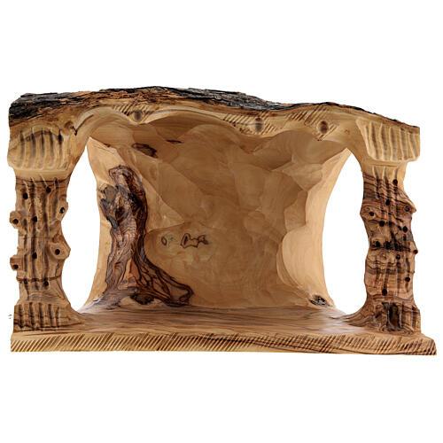Capanna Natività tronco legno ulivo 11 statue 10 cm Betlemme 20x30x20 cm 7