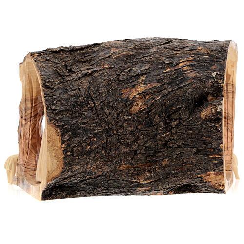 Capanna Natività tronco legno ulivo 11 statue 10 cm Betlemme 20x30x20 cm 8