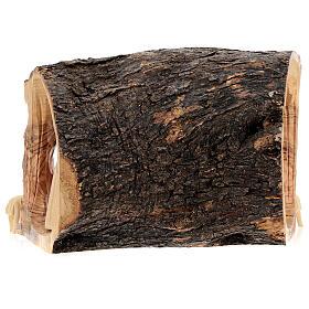 Cabana Natividade tronco madeira de oliveira 11 figuras 10 cm Belém 20x32x18 cm s8