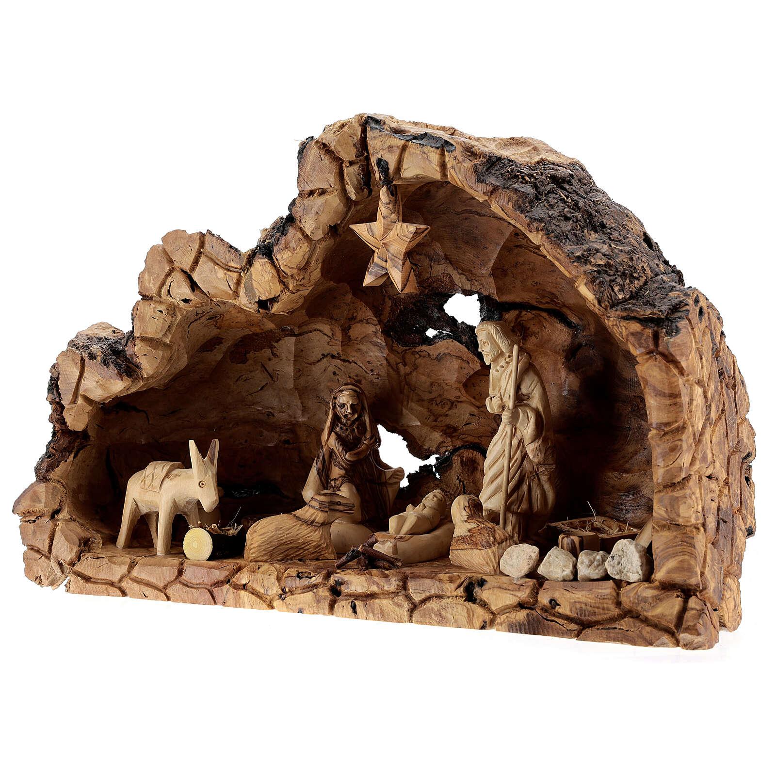 Capanna legno naturale Natività 10 cm ulivo Betlemme 20x35x15 cm 4