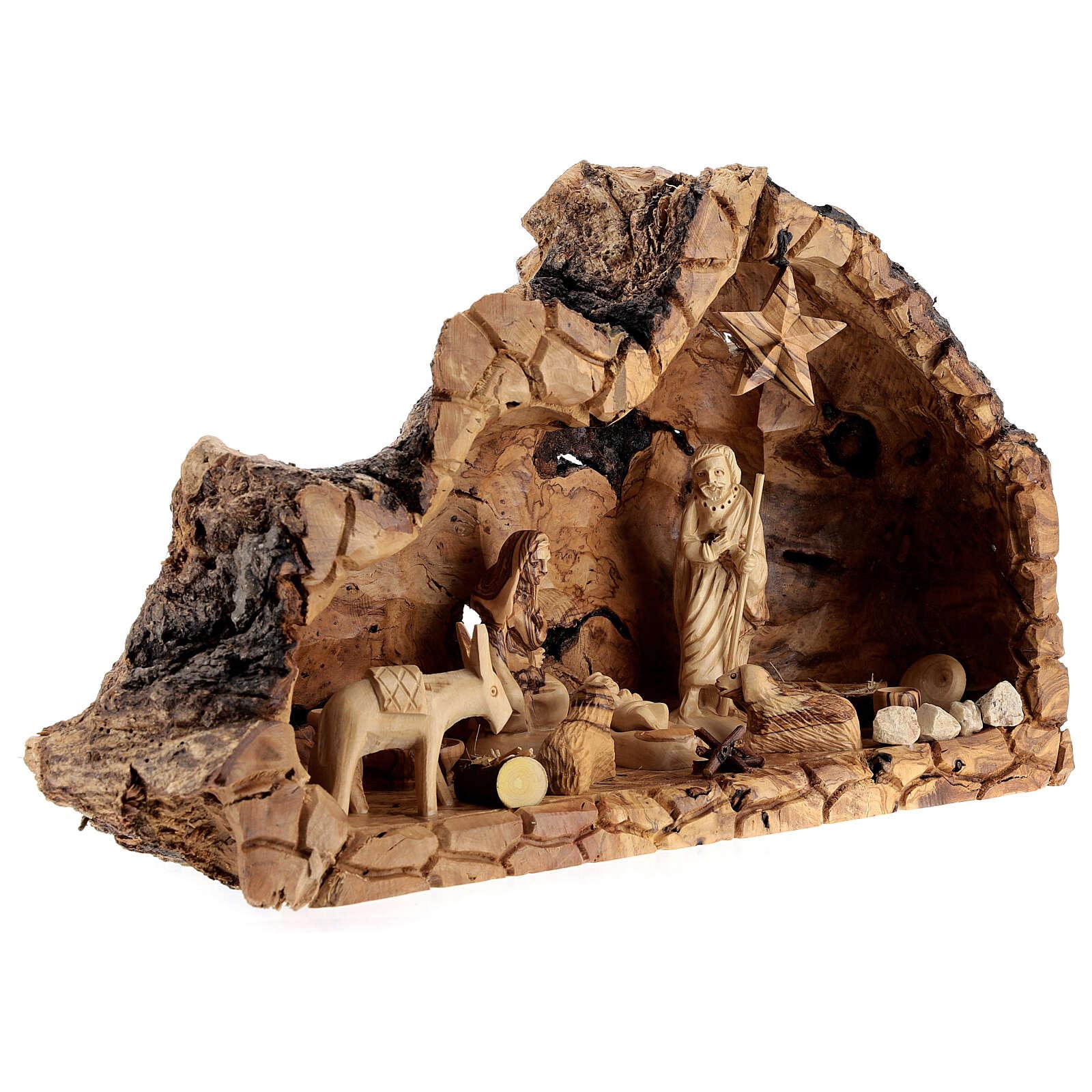 Cabana Natividade madeira de oliveira natural de Belém com figuras 10 cm, 22x34x12 cm 4