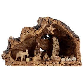 Cabana Natividade madeira de oliveira natural de Belém com figuras 10 cm, 22x34x12 cm s1
