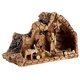 Cabana Natividade madeira de oliveira natural de Belém com figuras 10 cm, 22x34x12 cm s4