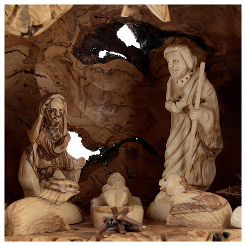Cabana Natividade madeira de oliveira natural de Belém com figuras 10 cm, 22x34x12 cm 2