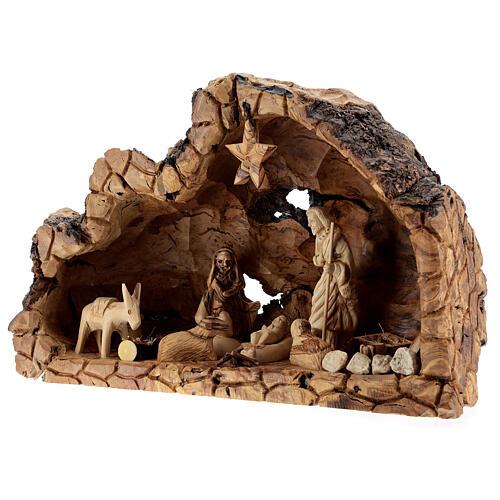 Cabana Natividade madeira de oliveira natural de Belém com figuras 10 cm, 22x34x12 cm 3