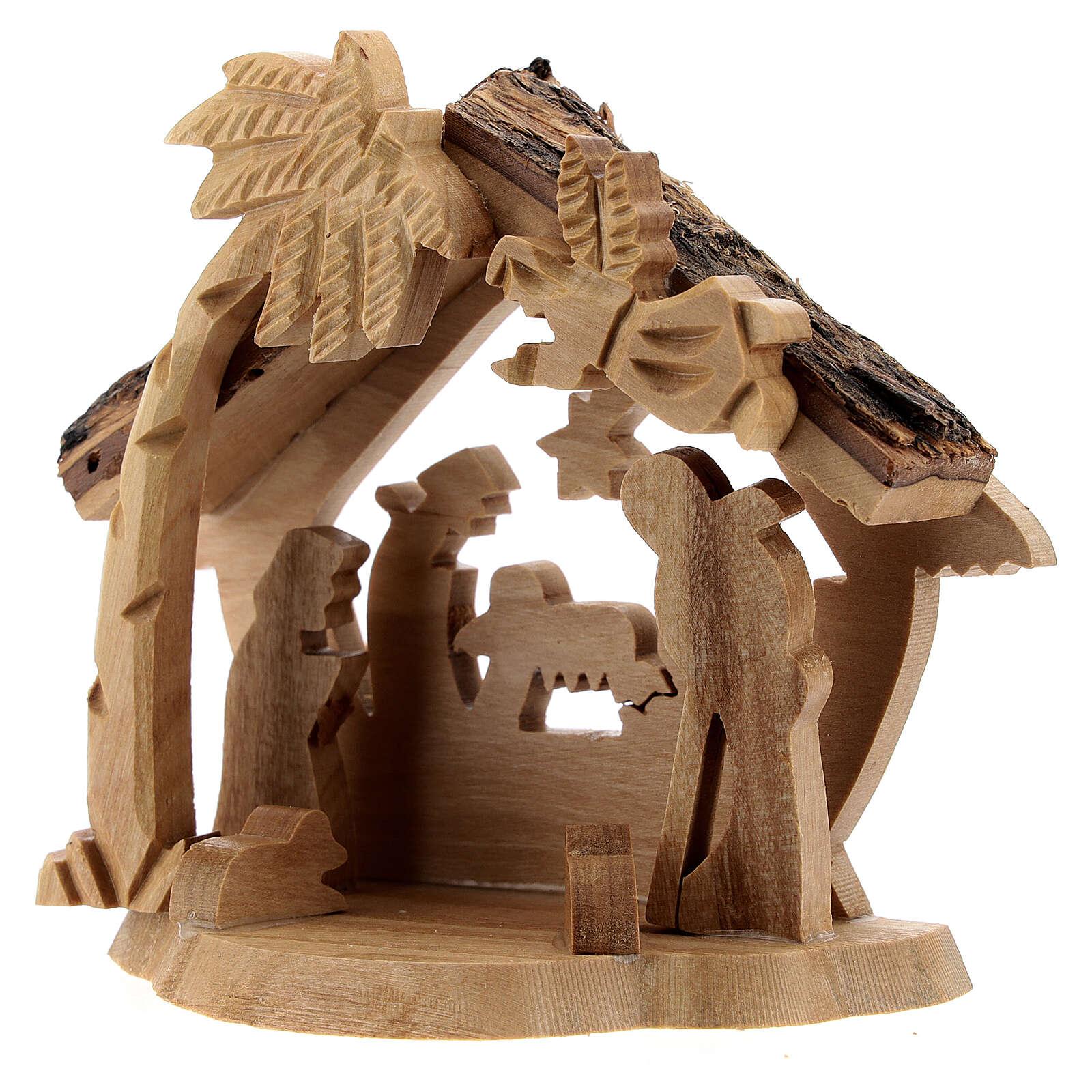 Krippenhütte aus Olivenholz Stil Bethlehem mit Palme, 10x10x5 cm 4