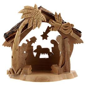Krippenhütte aus Olivenholz Stil Bethlehem mit Palme, 10x10x5 cm s1