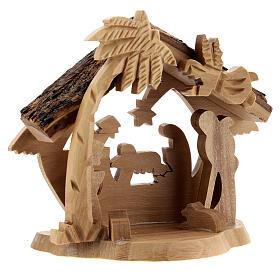 Cabaña Natividad 4 cm perfil mini madera olivo Belén 10x10x5 cm s3