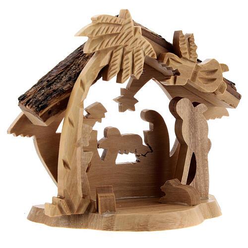 Cabaña Natividad 4 cm perfil mini madera olivo Belén 10x10x5 cm 3